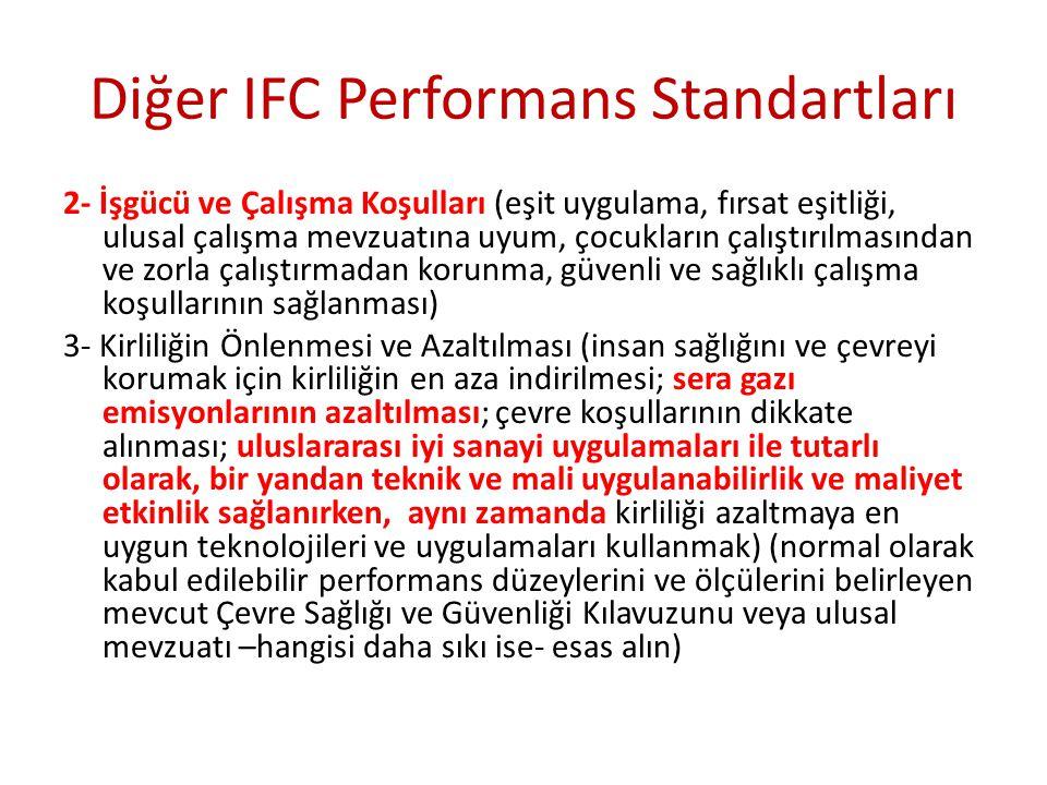 Diğer IFC Performans Standartları 2- İşgücü ve Çalışma Koşulları (eşit uygulama, fırsat eşitliği, ulusal çalışma mevzuatına uyum, çocukların çalıştırı