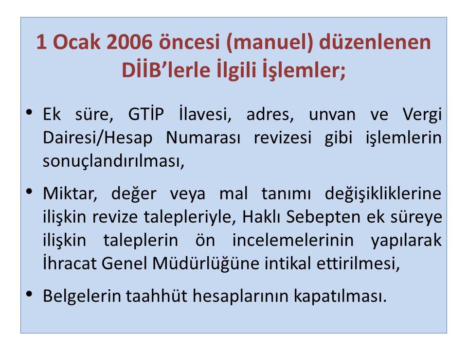1 Ocak 2006 öncesi (manuel) düzenlenen DİİB'lerle İlgili İşlemler; Ek süre, GTİP İlavesi, adres, unvan ve Vergi Dairesi/Hesap Numarası revizesi gibi i