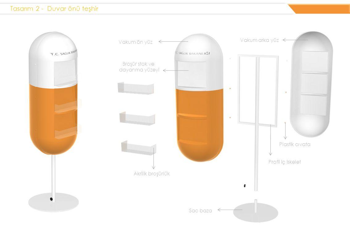 Tasarım 2 - Duvar önü teşhir Vakum arka yüz Vakum ön yüz Akrilik broşürlük Sac baza Plastik cıvata Profil iç iskelet Broşür stok ve dayanma yüzeyi