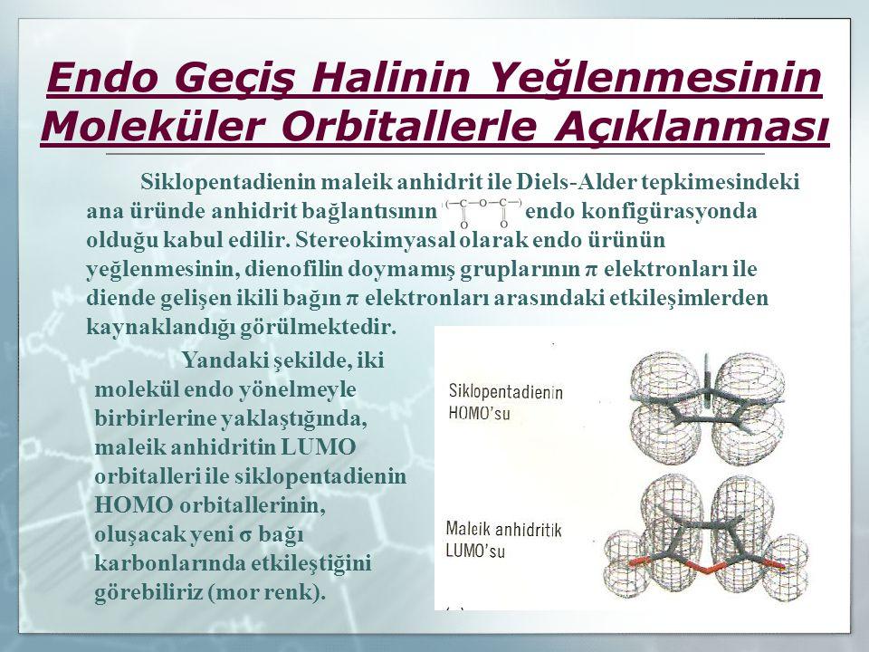 Endo Geçiş Halinin Yeğlenmesinin Moleküler Orbitallerle Açıklanması Siklopentadienin maleik anhidrit ile Diels-Alder tepkimesindeki ana üründe anhidri