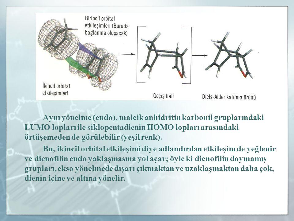 Aynı yönelme (endo), maleik anhidritin karbonil gruplarındaki LUMO lopları ile siklopentadienin HOMO lopları arasındaki örtüşemeden de görülebilir (ye