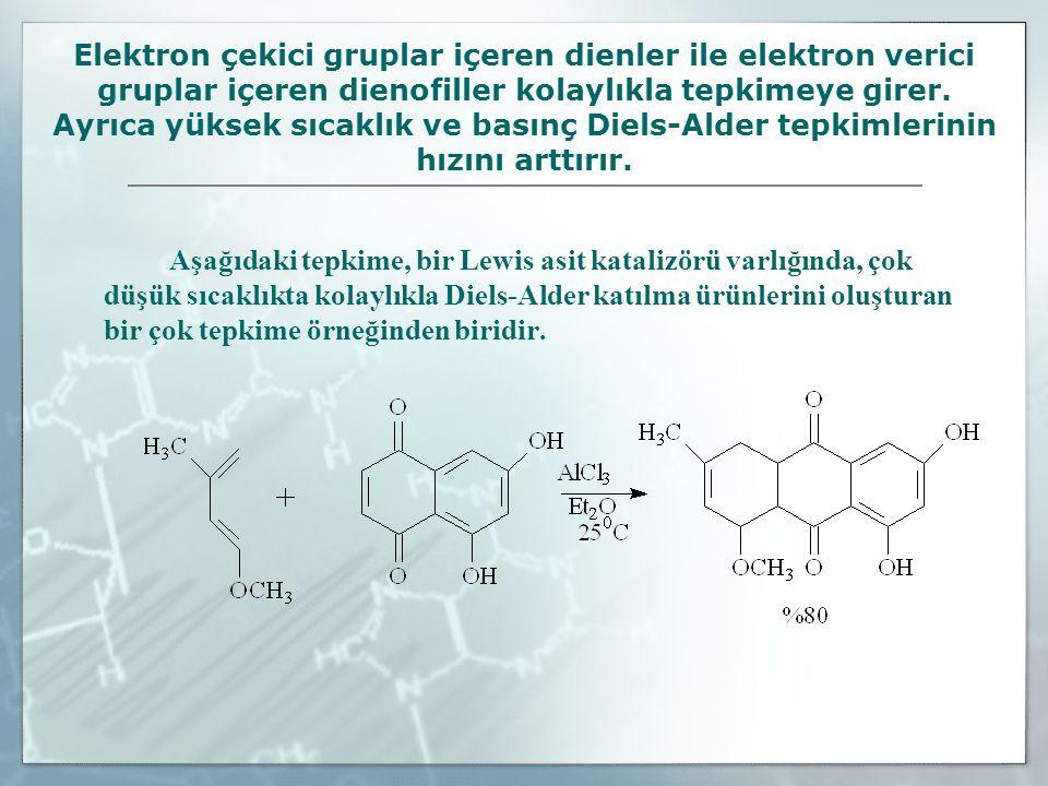 Elektron çekici gruplar içeren dienler ile elektron verici gruplar içeren dienofiller kolaylıkla tepkimeye girer. Ayrıca yüksek sıcaklık ve basınç Die