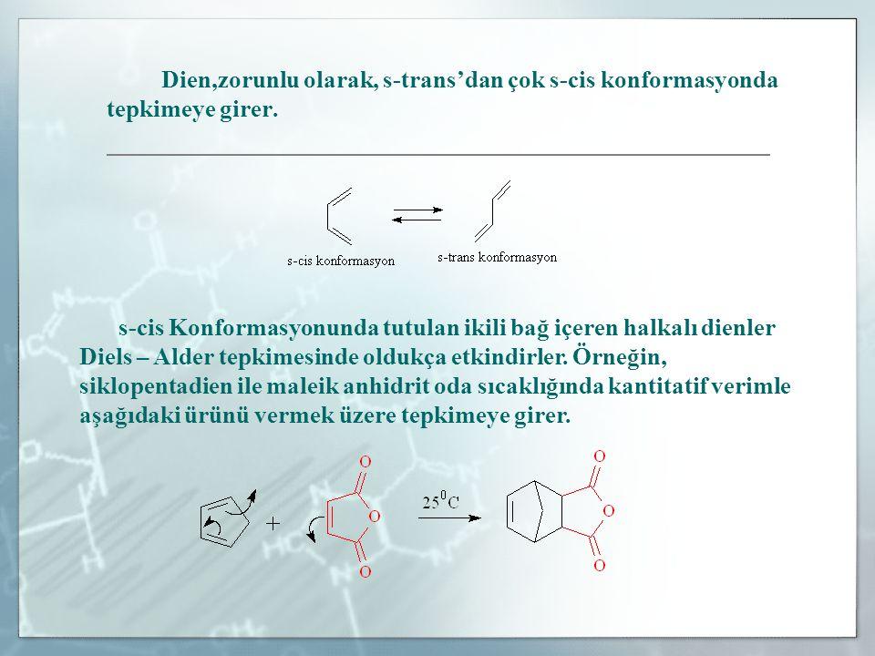 Diels – Alder tepkimesi kinetik kontrollü olduğunda, ekso ürününden çok endo ürünü oluşturacak yönde yürür.Endo ve ekso, bisiklo(2.2.1)heptan gibi köprülü halkaların stereokimyasını belirlemek için kullanılan terimlerdir.
