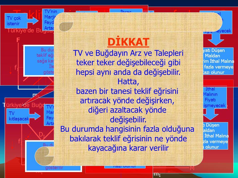 Türkiye'nin Teklif Eğrisi neden sağ tarafa kayar? Sadece Türkiye'nin teklif eğrisi yer değiştirdiğine göre, sadece Türkiye'deki arz ve talepte değişik
