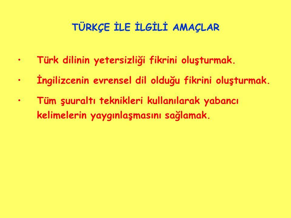 TÜRKÇE İLE İLGİLİ AMAÇLAR Türk dilinin yetersizliği fikrini oluşturmak.