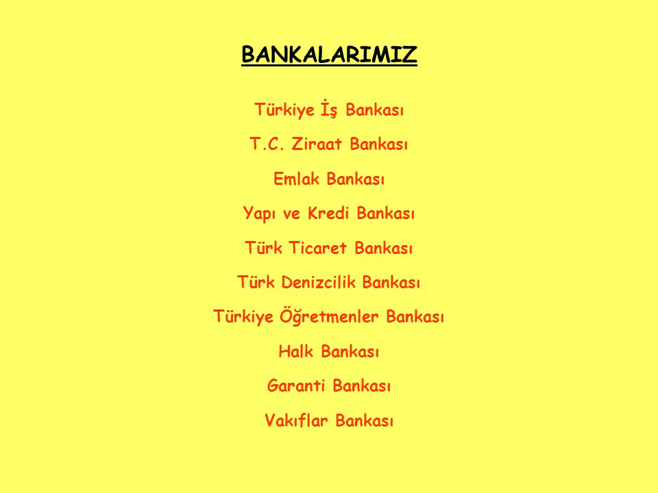 BANKALARIMIZ Türkiye İş Bankası T.C.