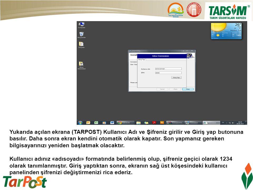 Yukarıda açılan ekrana (TARPOST) Kullanıcı Adı ve Şifreniz girilir ve Giriş yap butonuna basılır. Daha sonra ekran kendini otomatik olarak kapatır. So