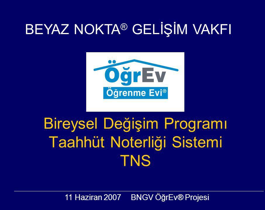 11 Haziran 2007BNGV ÖğrEv® Projesi Bireysel Değişim Programı Taahhüt Noterliği Sistemi TNS BEYAZ NOKTA ® GELİŞİM VAKFI