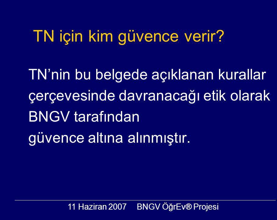 11 Haziran 2007BNGV ÖğrEv® Projesi TN için kim güvence verir? TN'nin bu belgede açıklanan kurallar çerçevesinde davranacağı etik olarak BNGV tarafında