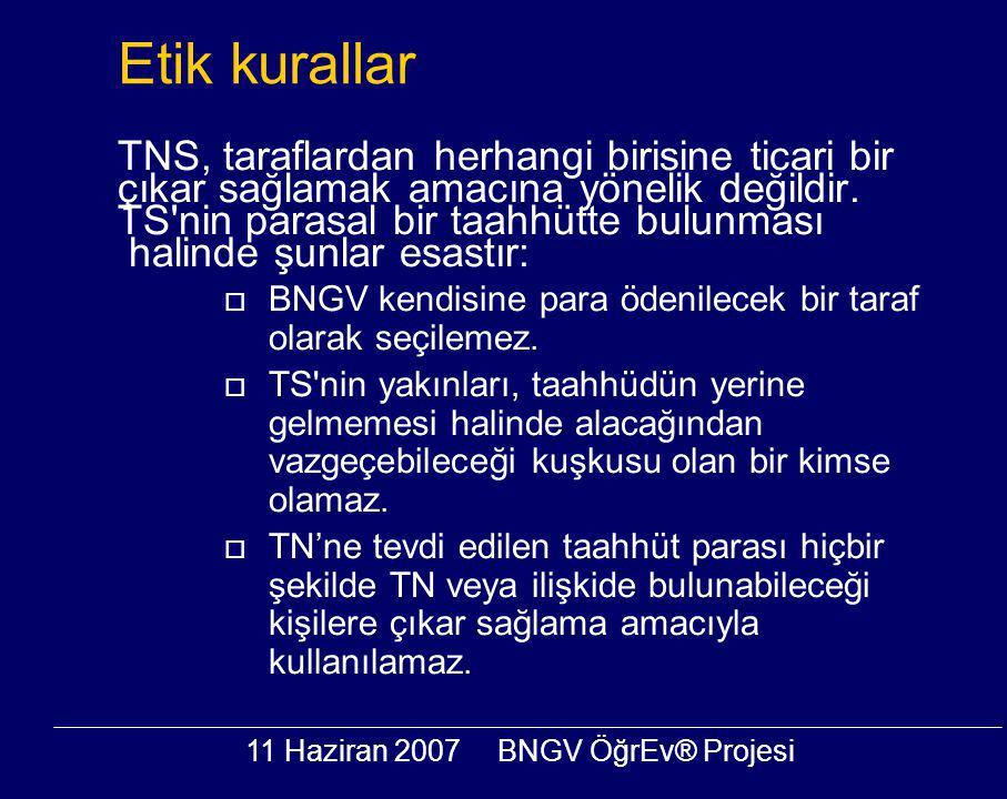 11 Haziran 2007BNGV ÖğrEv® Projesi Etik kurallar TNS, taraflardan herhangi birisine ticari bir çıkar sağlamak amacına yönelik değildir. TS'nin parasal