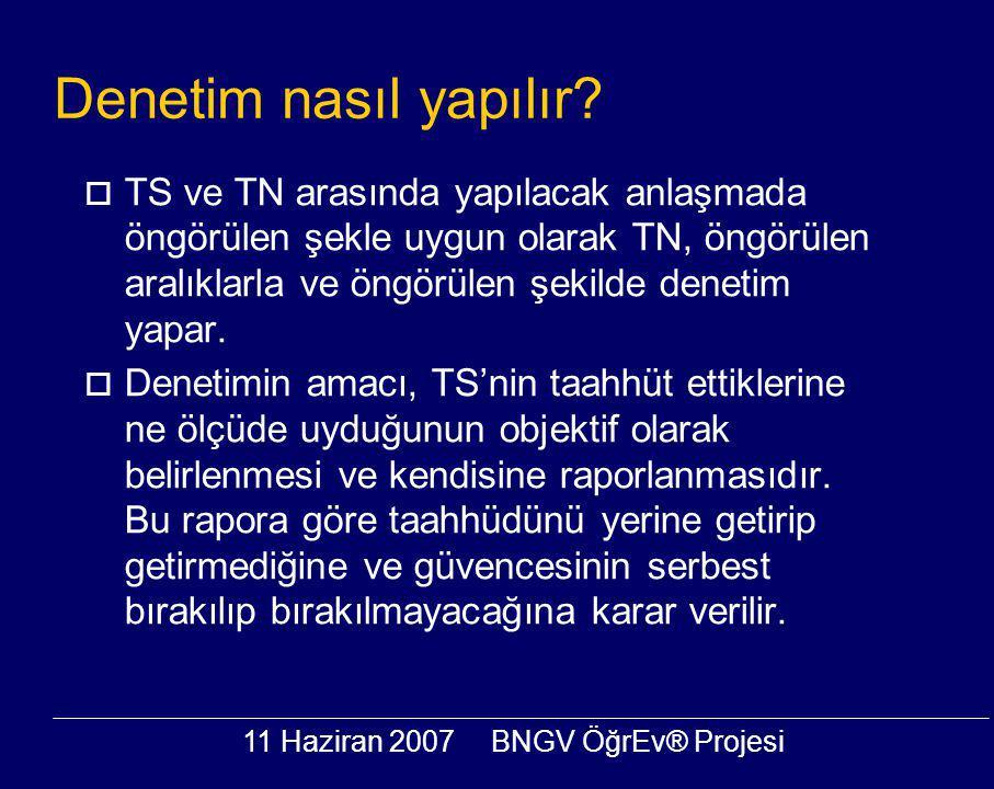 11 Haziran 2007BNGV ÖğrEv® Projesi Denetim nasıl yapılır?  TS ve TN arasında yapılacak anlaşmada öngörülen şekle uygun olarak TN, öngörülen aralıklar