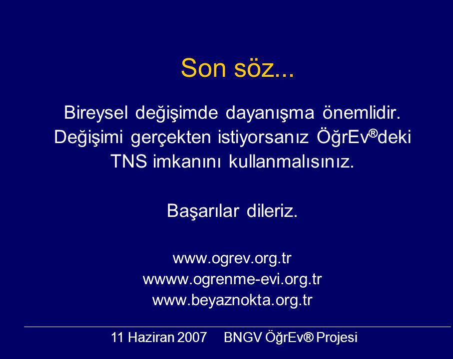11 Haziran 2007BNGV ÖğrEv® Projesi Son söz... Bireysel değişimde dayanışma önemlidir.