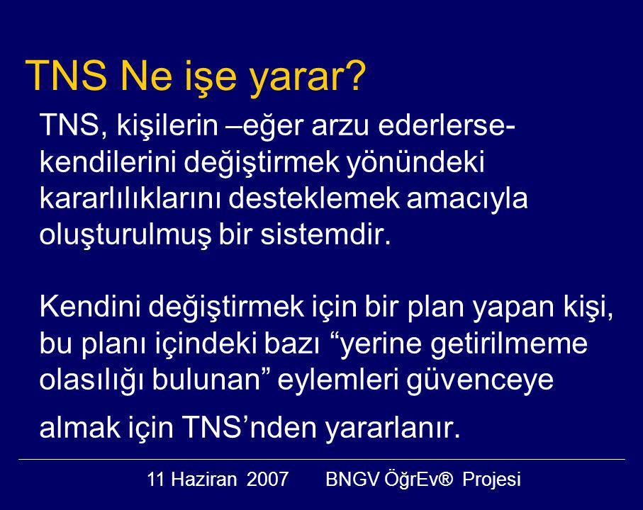11 Haziran 2007BNGV ÖğrEv® Projesi TNS, kişilerin –eğer arzu ederlerse- kendilerini değiştirmek yönündeki kararlılıklarını desteklemek amacıyla oluşturulmuş bir sistemdir.