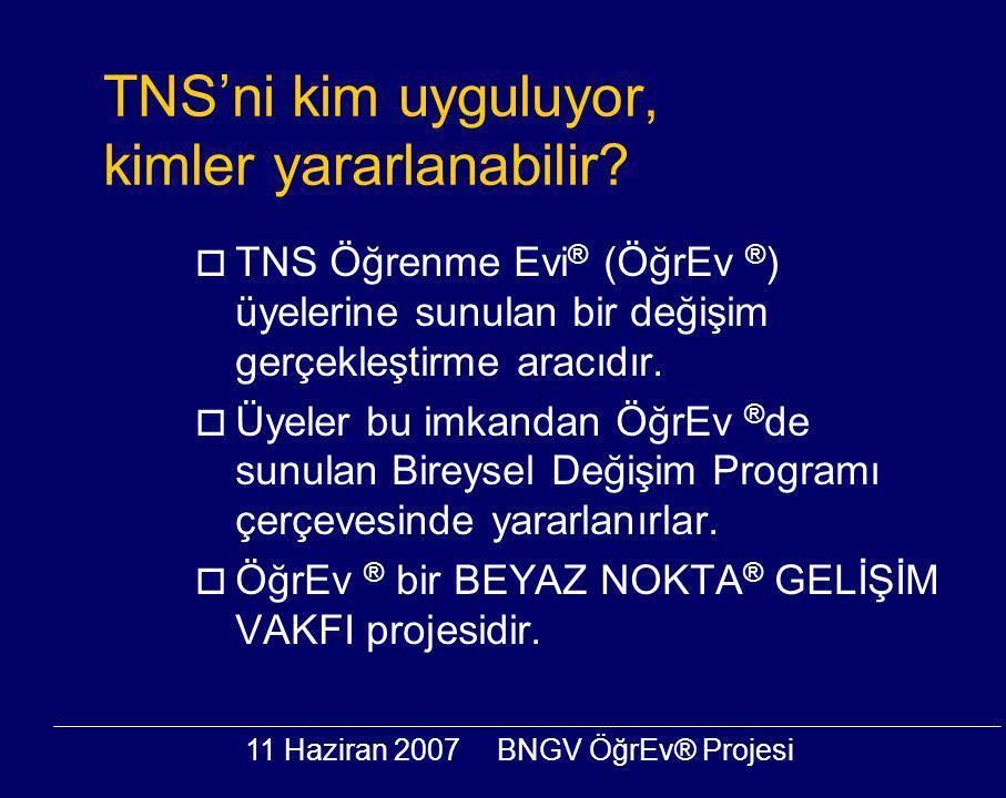 11 Haziran 2007BNGV ÖğrEv® Projesi TNS'ni kim uyguluyor, kimler yararlanabilir?  TNS Öğrenme Evi ® (ÖğrEv ® ) üyelerine sunulan bir değişim gerçekleş
