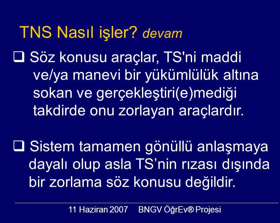 11 Haziran 2007BNGV ÖğrEv® Projesi  Söz konusu araçlar, TS ni maddi ve/ya manevi bir yükümlülük altına sokan ve gerçekleştiri(e)mediği takdirde onu zorlayan araçlardır.