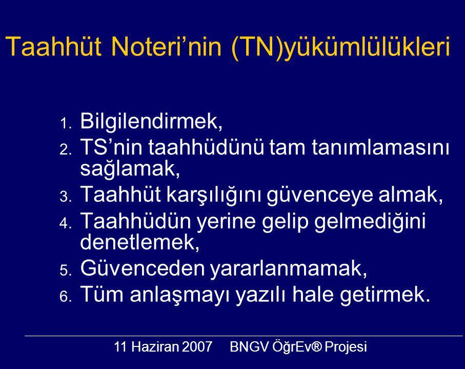 11 Haziran 2007BNGV ÖğrEv® Projesi Taahhüt Noteri'nin (TN)yükümlülükleri 1. Bilgilendirmek, 2. TS'nin taahhüdünü tam tanımlamasını sağlamak, 3. Taahhü