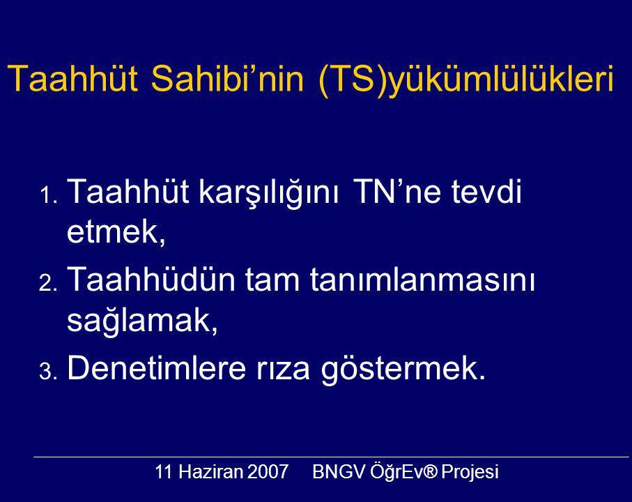 11 Haziran 2007BNGV ÖğrEv® Projesi Taahhüt Sahibi'nin (TS)yükümlülükleri 1. Taahhüt karşılığını TN'ne tevdi etmek, 2. Taahhüdün tam tanımlanmasını sağ