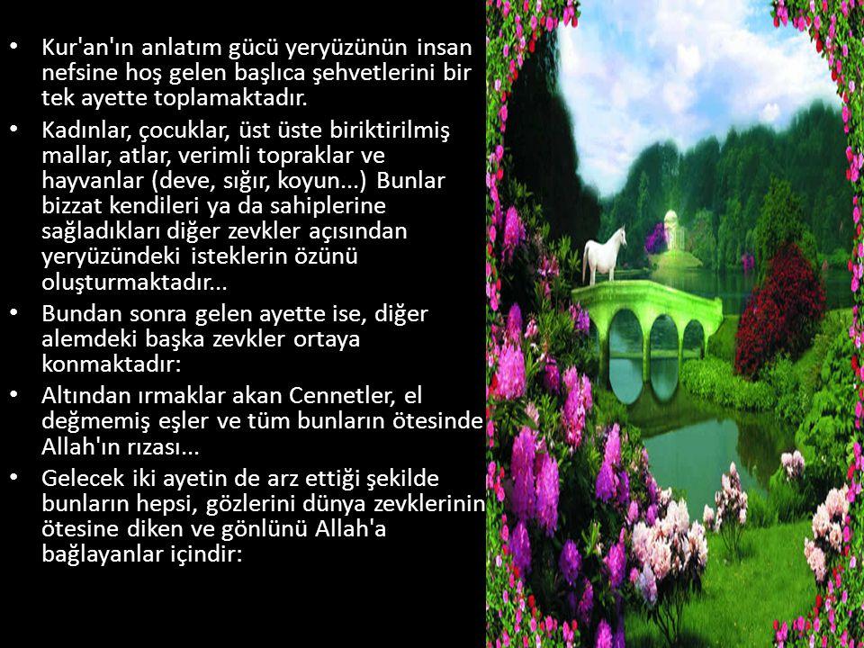 Kur'an'ın anlatım gücü yeryüzünün insan nefsine hoş gelen başlıca şehvetlerini bir tek ayette toplamaktadır. Kadınlar, çocuklar, üst üste biriktirilmi