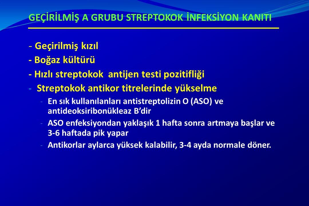 GEÇİRİLMİŞ A GRUBU STREPTOKOK İNFEKSİYON KANITI - Geçirilmiş kızıl - Boğaz kültürü - Hızlı streptokok antijen testi pozitifliği - Streptokok antikor t