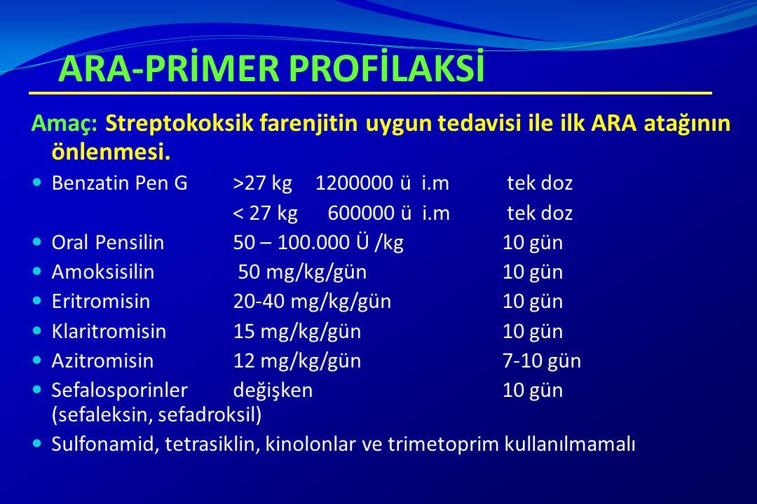 ARA-PRİMER PROFİLAKSİ Amaç: Streptokoksik farenjitin uygun tedavisi ile ilk ARA atağının önlenmesi. Benzatin Pen G >27 kg 1200000 ü i.m tek doz < 27 k