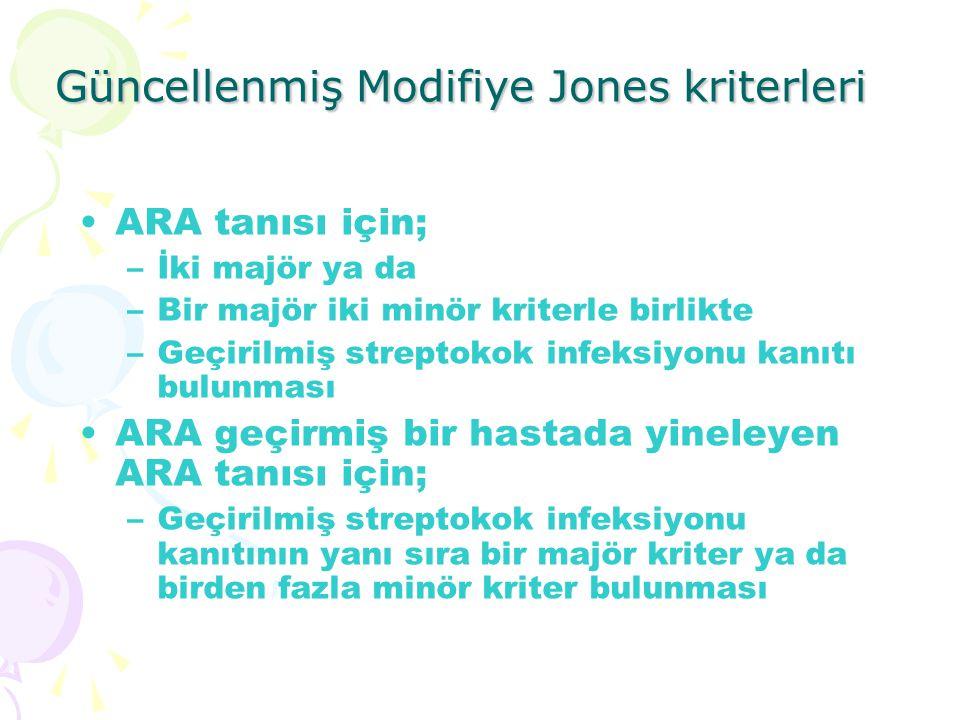 Güncellenmiş Modifiye Jones kriterleri ARA tanısı için; –İki majör ya da –Bir majör iki minör kriterle birlikte –Geçirilmiş streptokok infeksiyonu kan