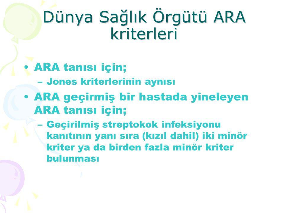 Dünya Sağlık Örgütü ARA kriterleri ARA tanısı için; –Jones kriterlerinin aynısı ARA geçirmiş bir hastada yineleyen ARA tanısı için; –Geçirilmiş strept