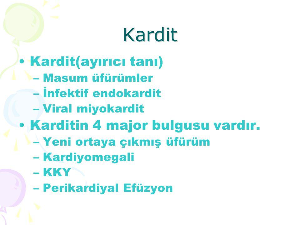 Kardit Kardit(ayırıcı tanı) –Masum üfürümler –İnfektif endokardit –Viral miyokardit Karditin 4 major bulgusu vardır. –Yeni ortaya çıkmış üfürüm –Kardi