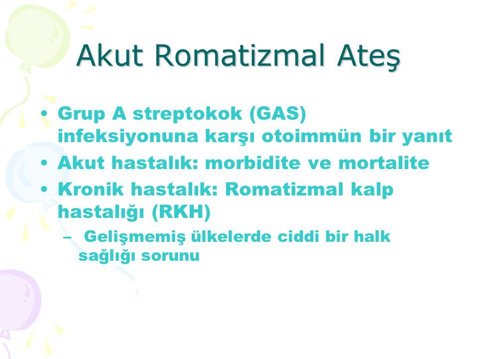 Akut Romatizmal Ateş Grup A streptokok (GAS) infeksiyonuna karşı otoimmün bir yanıt Akut hastalık: morbidite ve mortalite Kronik hastalık: Romatizmal