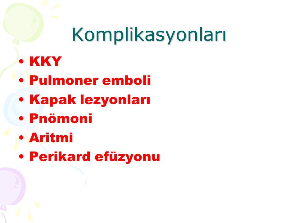 Komplikasyonları KKY Pulmoner emboli Kapak lezyonları Pnömoni Aritmi Perikard efüzyonu
