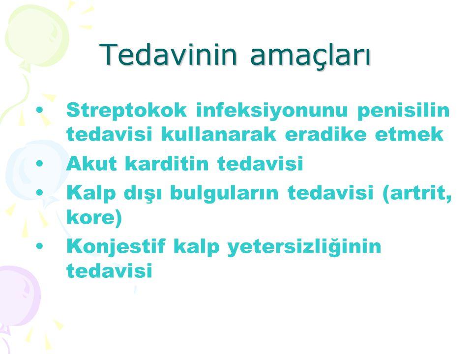 Tedavinin amaçları Streptokok infeksiyonunu penisilin tedavisi kullanarak eradike etmek Akut karditin tedavisi Kalp dışı bulguların tedavisi (artrit,