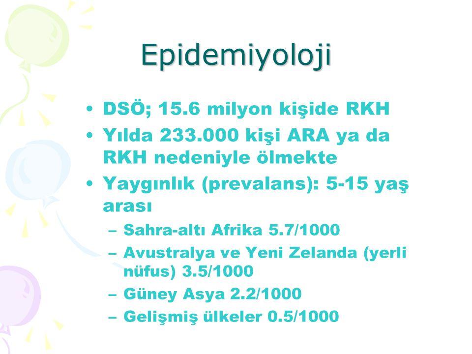 Epidemiyoloji DSÖ; 15.6 milyon kişide RKH Yılda 233.000 kişi ARA ya da RKH nedeniyle ölmekte Yaygınlık (prevalans): 5-15 yaş arası –Sahra-altı Afrika