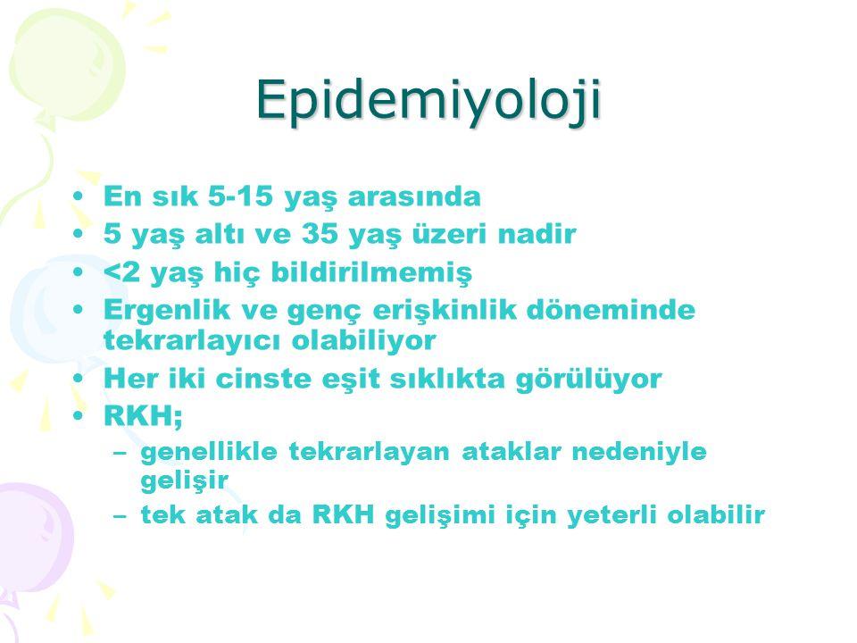 Epidemiyoloji En sık 5-15 yaş arasında 5 yaş altı ve 35 yaş üzeri nadir <2 yaş hiç bildirilmemiş Ergenlik ve genç erişkinlik döneminde tekrarlayıcı ol