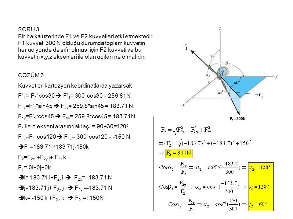 SORU 4 Resimde gösterilen borunun AB kısmı ile CB kısmı arasındaki θ açısını bulunuz Cevap Önce koordinatları belirleyelim.