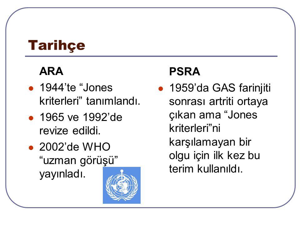 """Tarihçe ARA 1944'te """"Jones kriterleri"""" tanımlandı. 1965 ve 1992'de revize edildi. 2002'de WHO """"uzman görüşü"""" yayınladı. PSRA 1959'da GAS farinjiti son"""