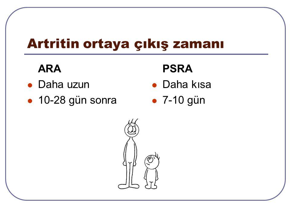 Artritin ortaya çıkış zamanı ARA Daha uzun 10-28 gün sonra PSRA Daha kısa 7-10 gün