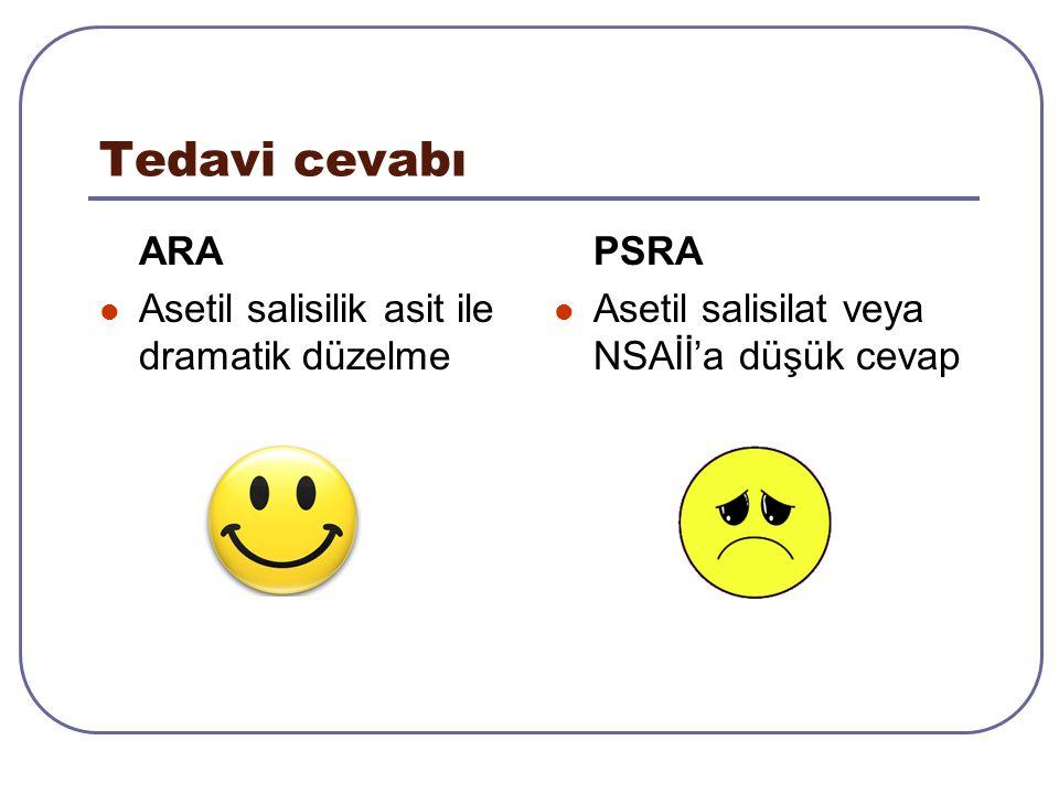 Tedavi cevabı ARA Asetil salisilik asit ile dramatik düzelme PSRA Asetil salisilat veya NSAİİ'a düşük cevap