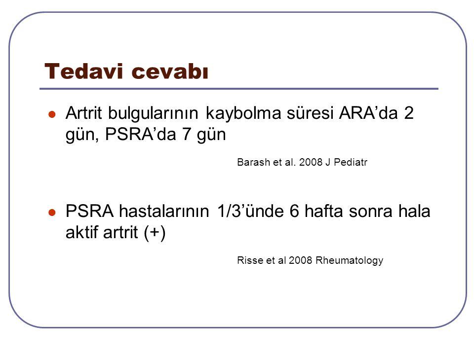 Tedavi cevabı Artrit bulgularının kaybolma süresi ARA'da 2 gün, PSRA'da 7 gün Barash et al. 2008 J Pediatr PSRA hastalarının 1/3'ünde 6 hafta sonra ha
