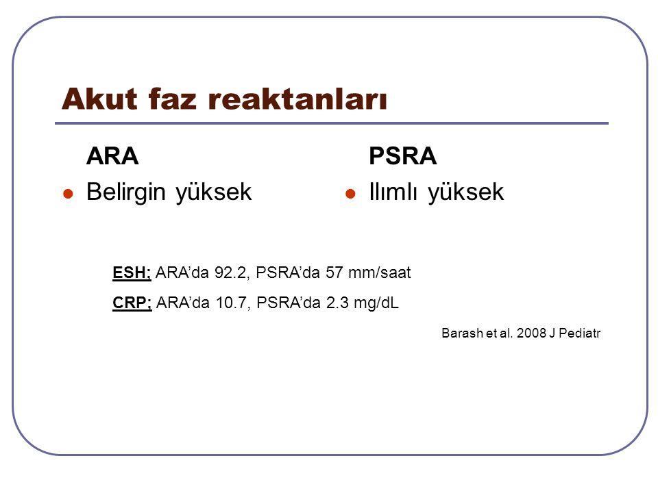Akut faz reaktanları ARA Belirgin yüksek PSRA Ilımlı yüksek ESH; ARA'da 92.2, PSRA'da 57 mm/saat CRP; ARA'da 10.7, PSRA'da 2.3 mg/dL Barash et al. 200