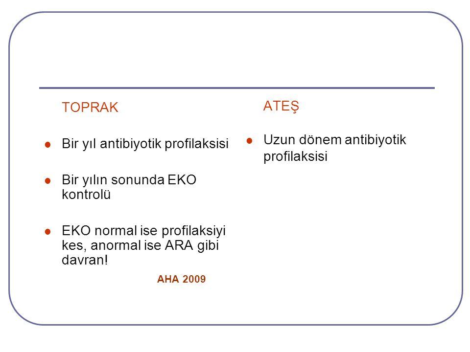 TOPRAK Bir yıl antibiyotik profilaksisi Bir yılın sonunda EKO kontrolü EKO normal ise profilaksiyi kes, anormal ise ARA gibi davran! AHA 2009 ATEŞ Uzu