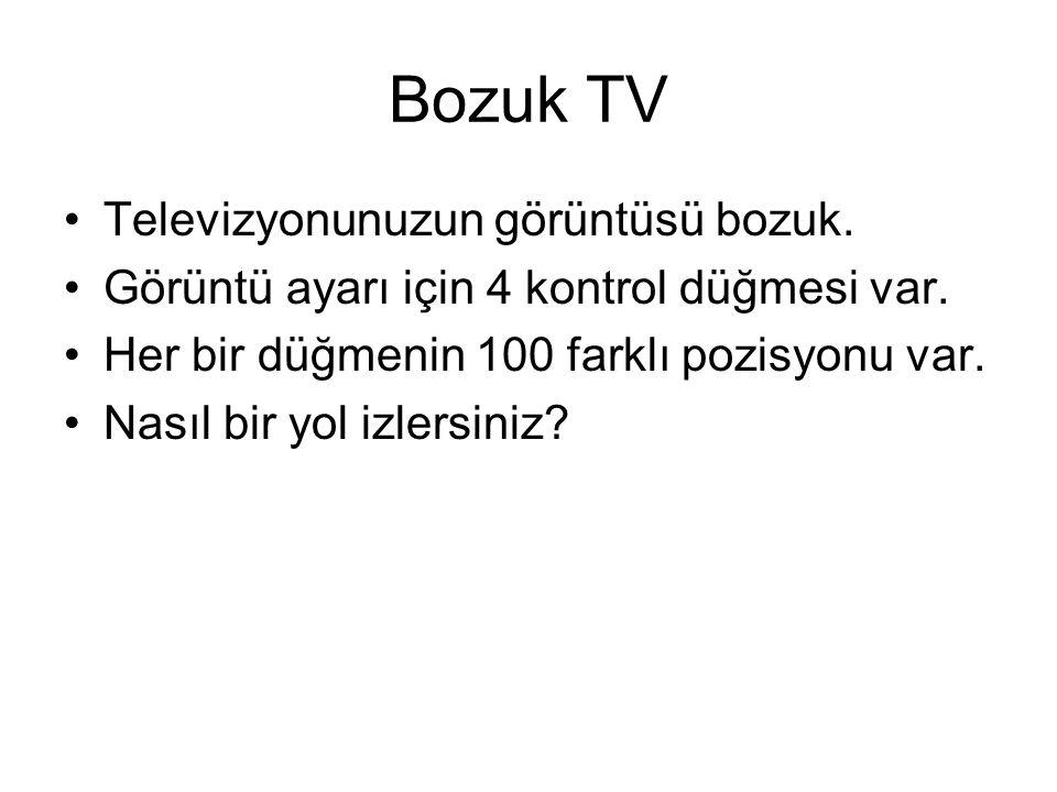 Bozuk TV Televizyonunuzun görüntüsü bozuk. Görüntü ayarı için 4 kontrol düğmesi var. Her bir düğmenin 100 farklı pozisyonu var. Nasıl bir yol izlersin