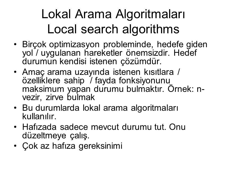 Lokal Arama Algoritmaları Local search algorithms Birçok optimizasyon probleminde, hedefe giden yol / uygulanan hareketler önemsizdir. Hedef durumun k