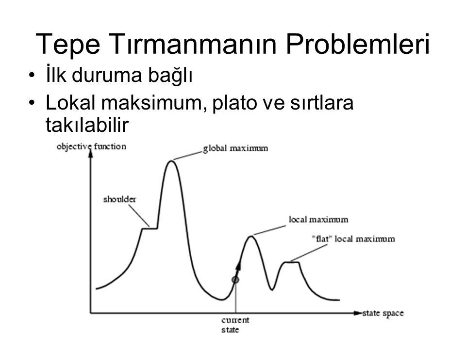 Tepe Tırmanmanın Problemleri İlk duruma bağlı Lokal maksimum, plato ve sırtlara takılabilir