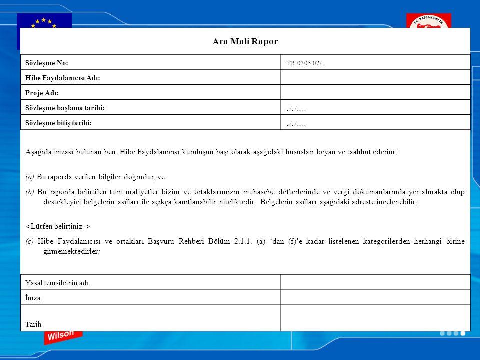 Ara Mali Rapor Sözleşme No: TR 0305.02/… Hibe Faydalanıcısı Adı: Proje Adı: Sözleşme başlama tarihi:../../…. Sözleşme bitiş tarihi:../../…. Aşağıda im