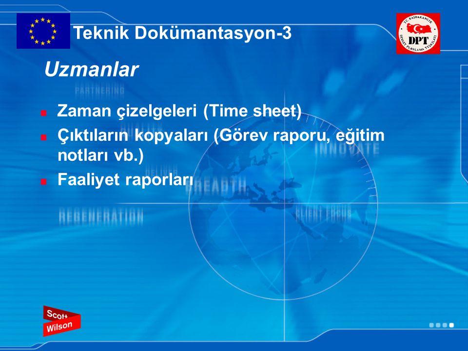 Uzmanlar Zaman çizelgeleri (Time sheet) Çıktıların kopyaları (Görev raporu, eğitim notları vb.) Faaliyet raporları Teknik Dokümantasyon-3