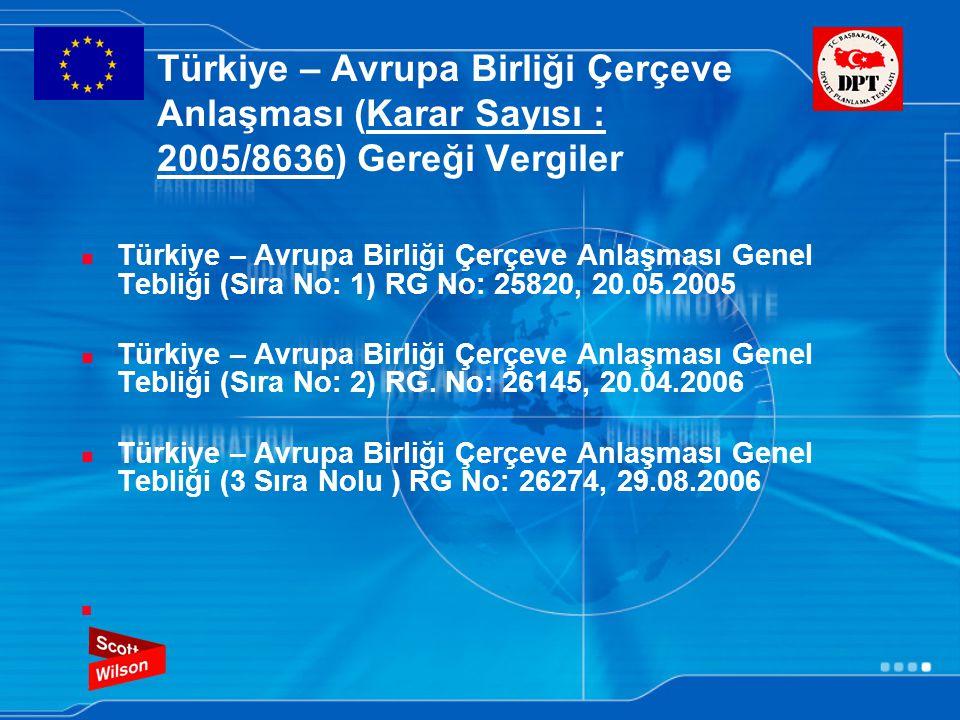 Türkiye – Avrupa Birliği Çerçeve Anlaşması (Karar Sayısı : 2005/8636) Gereği Vergiler Türkiye – Avrupa Birliği Çerçeve Anlaşması Genel Tebliği (Sıra N