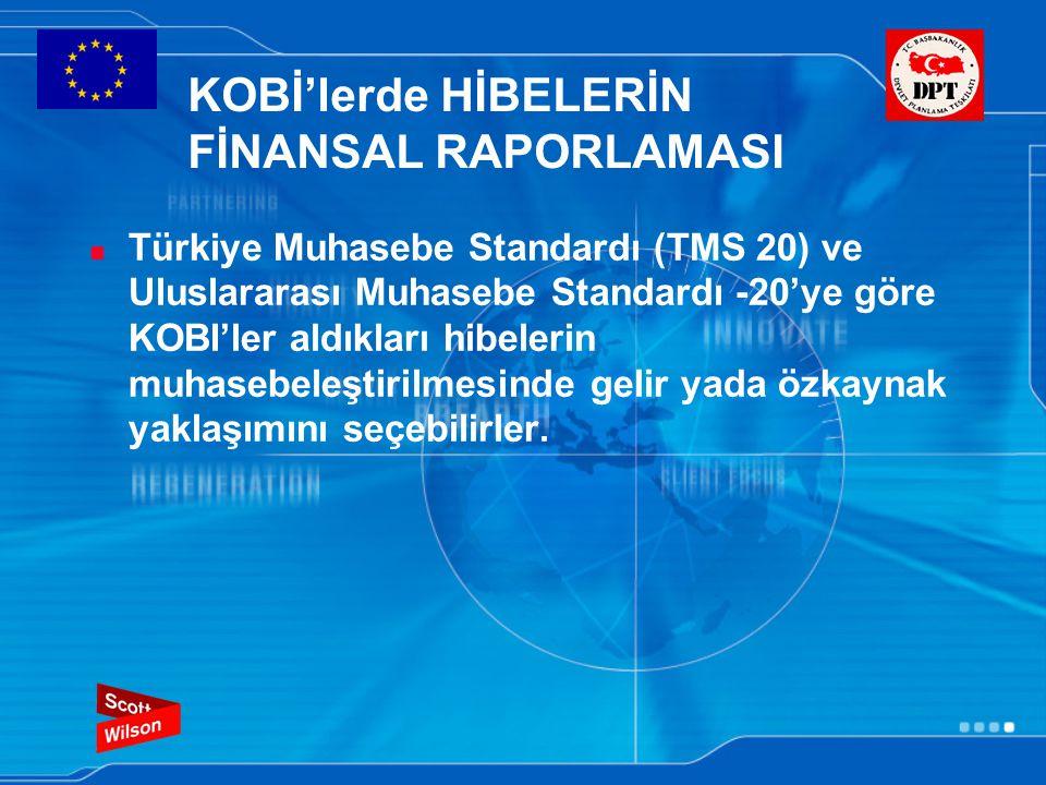 KOBİ'lerde HİBELERİN FİNANSAL RAPORLAMASI Türkiye Muhasebe Standardı (TMS 20) ve Uluslararası Muhasebe Standardı -20'ye göre KOBI'ler aldıkları hibelerin muhasebeleştirilmesinde gelir yada özkaynak yaklaşımını seçebilirler.