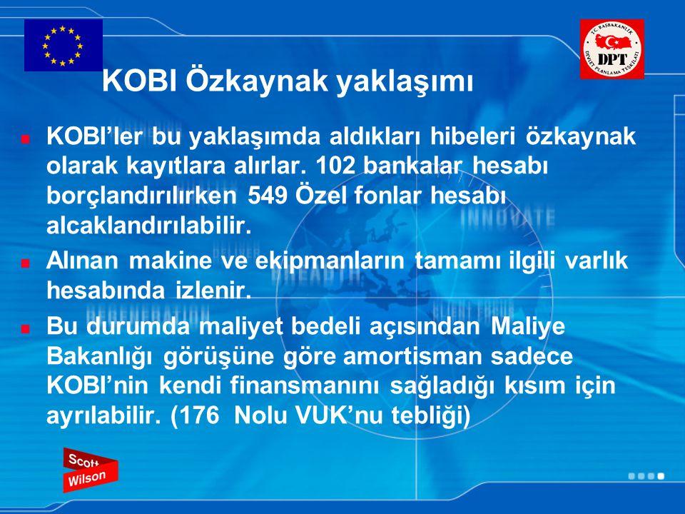 KOBI Özkaynak yaklaşımı KOBI'ler bu yaklaşımda aldıkları hibeleri özkaynak olarak kayıtlara alırlar. 102 bankalar hesabı borçlandırılırken 549 Özel fo