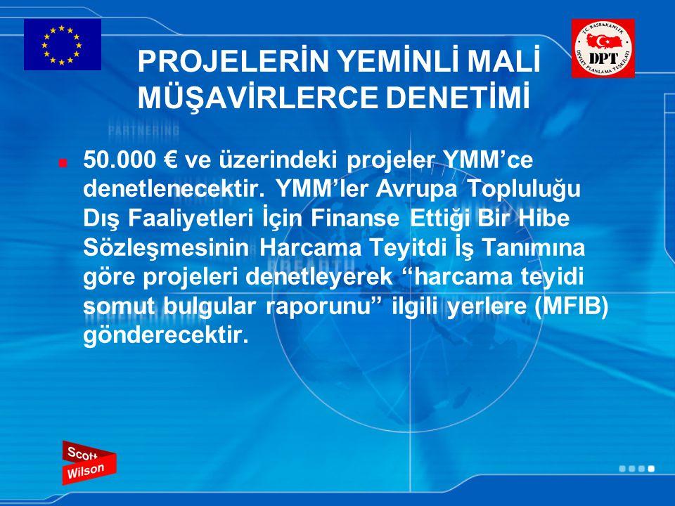 PROJELERİN YEMİNLİ MALİ MÜŞAVİRLERCE DENETİMİ 50.000 € ve üzerindeki projeler YMM'ce denetlenecektir.