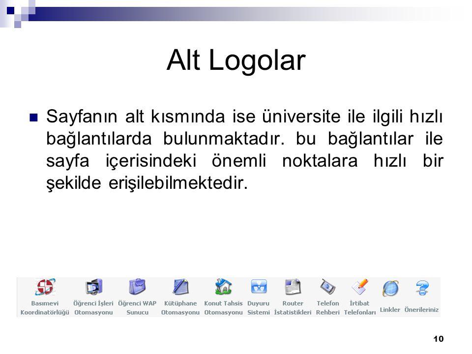 10 Alt Logolar Sayfanın alt kısmında ise üniversite ile ilgili hızlı bağlantılarda bulunmaktadır.