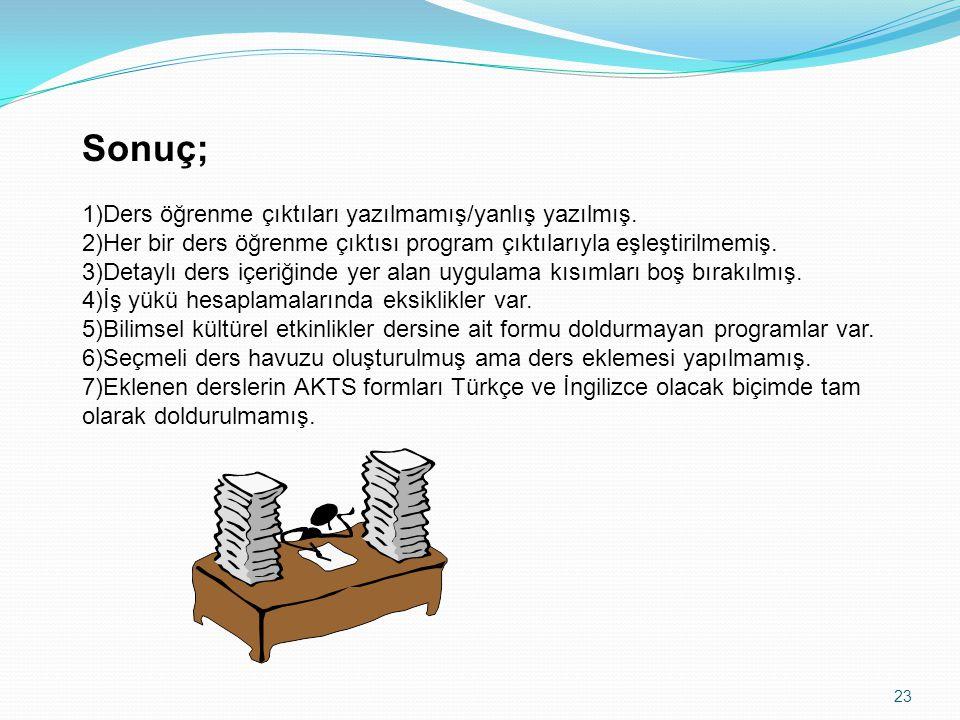 Sonuç; 1)Ders öğrenme çıktıları yazılmamış/yanlış yazılmış. 2)Her bir ders öğrenme çıktısı program çıktılarıyla eşleştirilmemiş. 3)Detaylı ders içeriğ